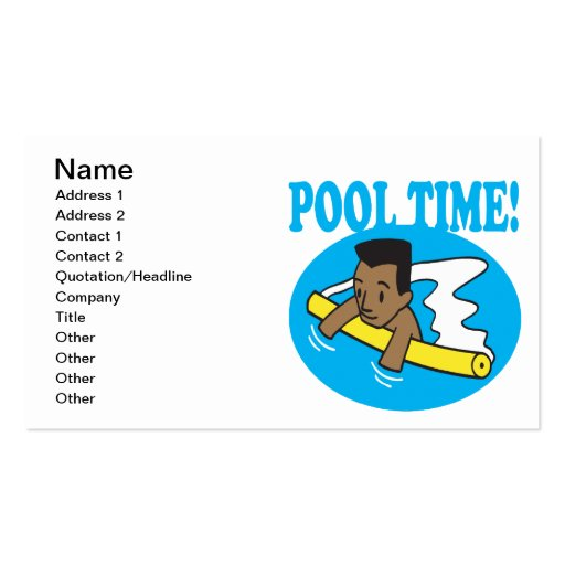 Pool Time 2 Business Card