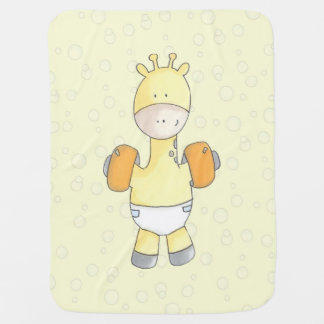 Pool Time Fun With Baby Giraffe Baby Blanket