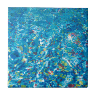 Pool view through the thickness of the water ceramic tiles