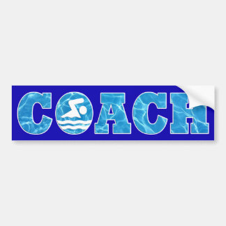 Pool Water COACH Bumper Sticker for Swim Coaches