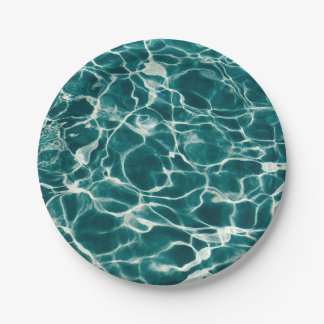 Pool water pattern 7 inch paper plate