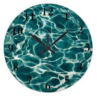 Pool water pattern large clock