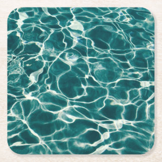 Pool water pattern square paper coaster
