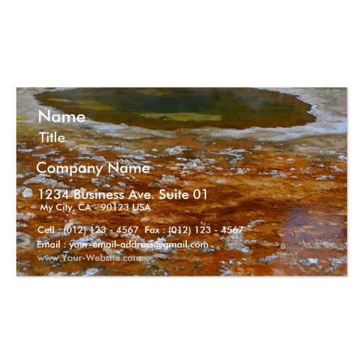 Pools Yellowstone Hydrothermal Hot Spring Business Card Template