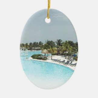 poolside ceramic oval ornament