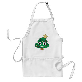 Poop Emoji Christmas Tree Adult Apron