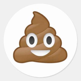 Poop emoji classic round sticker