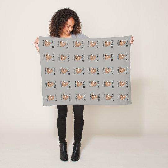 Poop emoji fleece blanket