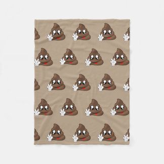 Poop Emoji Peace Sign Hands Fleece Blanket
