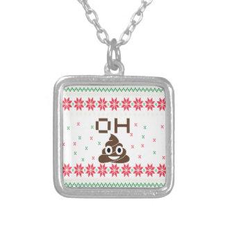 Poop emoji silver plated necklace