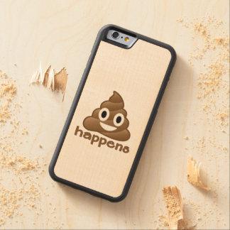 Poop Happens Emoji Carved Maple iPhone 6 Bumper Case