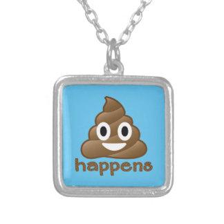 Poop Happens Emoji Silver Plated Necklace