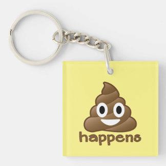 Poop Happens Emoji Single-Sided Square Acrylic Keychain