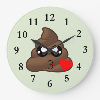 Poop Heart Love Emoji Clock