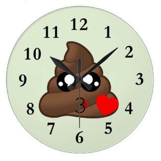 Poop Heart Love Emoji Large Clock