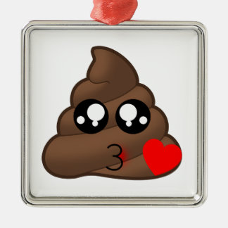 Poop Heart Love Emoji Metal Ornament