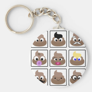 Poop Many Faces Basic Round Button Keychain