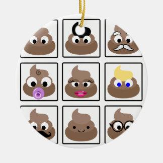 Poop Many Faces Ceramic Ornament