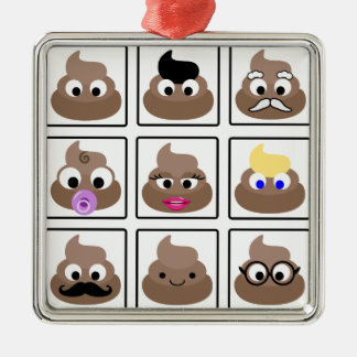 Poop Many Faces Metal Ornament
