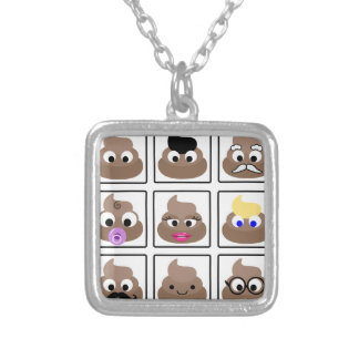 Poop Many Faces Silver Plated Necklace