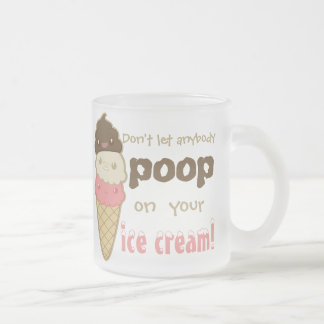 poop on ice cream frosted glass coffee mug
