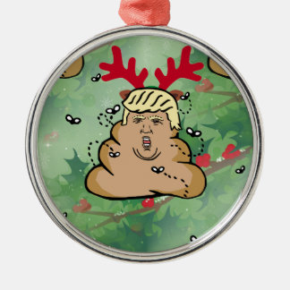 poop reindeer donald trump Silver-Colored round ornament