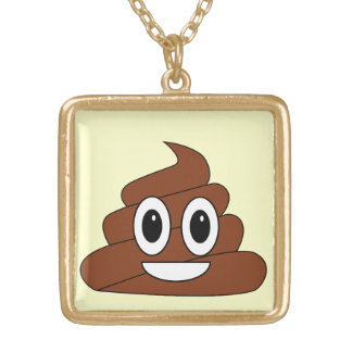 Poop smiley gold plated necklace