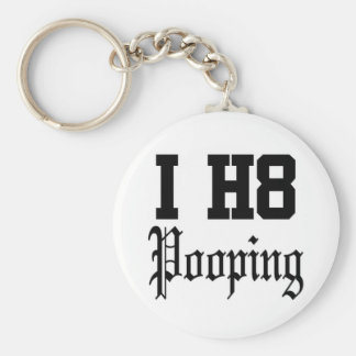 pooping basic round button keychain