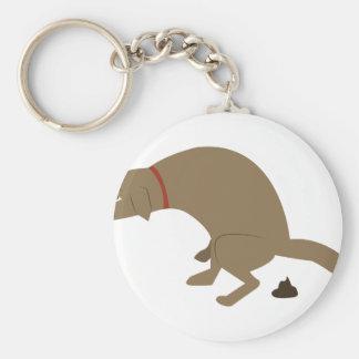 Pooping Dog Basic Round Button Keychain