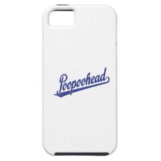 Poopoohead Script Logo in Distressed Blue iPhone 5 Cases