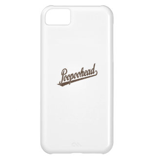 Poopoohead Script Logo in Distressed Brown Case For iPhone 5C