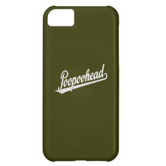 Poopoohead Script Logo in Distressed White Case For iPhone 5C