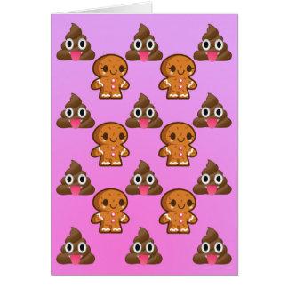 Poopy Emoji and Gingerbread man Birthday card