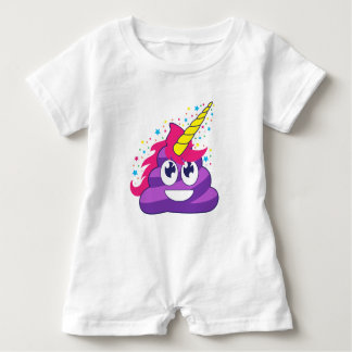 Poopy Unicorn Emoji Baby Romper