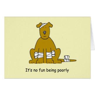 Poorly brown, cute cartoon dog in bandages card