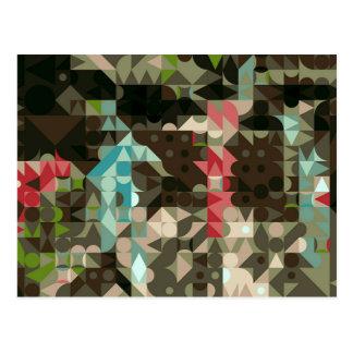 Pop Art Abstract Shapes Pink Green Blue Postcard