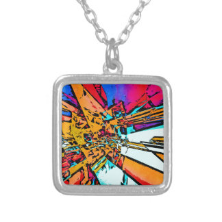 Pop Art Abstract Silver Plated Necklace