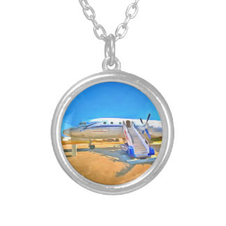 Pop Art Airliner Silver Plated Necklace