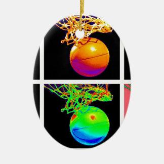 Pop Art Basketball Ceramic Ornament