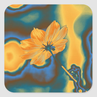 Pop Art Beautiful Yellow Cosmos Flower Square Sticker