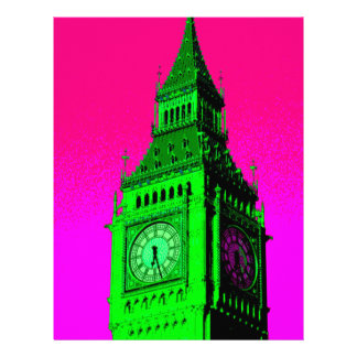 Pop Art Big Ben London Travel Pink Green Personalized Letterhead