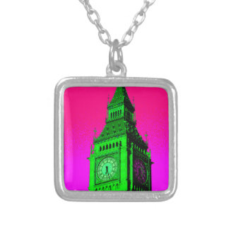 Pop Art Big Ben London Travel Pink Green Silver Plated Necklace