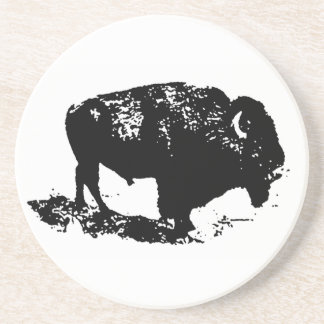 Pop Art Black White Buffalo Bison Silhouette Coaster