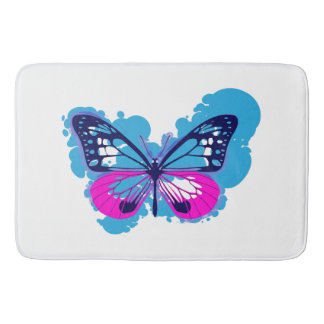 Pop Art Blue Butterfly Bath Mat