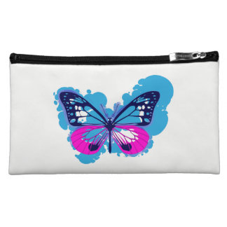 Pop Art Blue Butterfly Cosmetics Bag