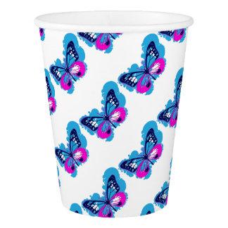 Pop Art Blue Butterfly Paper Cup