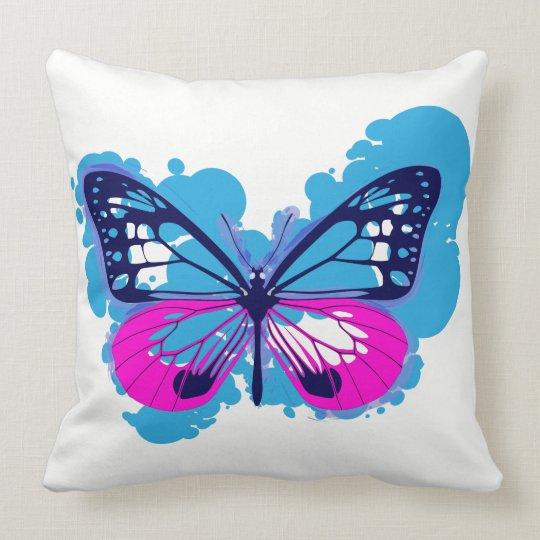 Pop Art Blue Butterfly Pillow