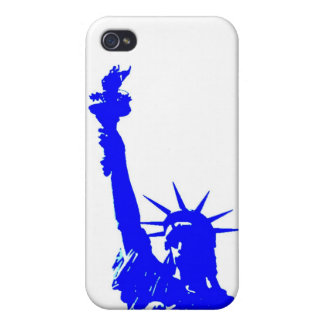 Pop Art Blue Statue of Liberty Cover For iPhone 4