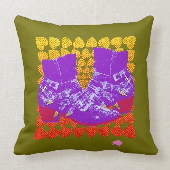 Pop Art Boots on Hearts Throw Pillow