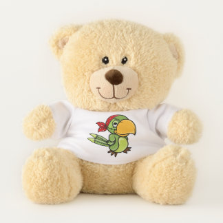 Pop Art Cartoon Parrot Teddy Bear